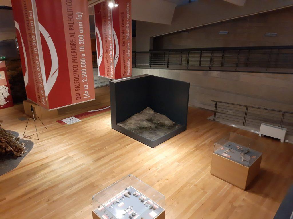 Dettaglio del nuovo allestimento del Museo Nazionale del Paleolitico. La vetrina destinata a ospitare il reperto del dentino, con lo spazio riservato alla riproduzione del bambino.